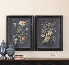 Uttermost Midnight Botanicals Wall Art S/2 Furniture Finesse York,Pa.