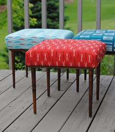 Mid-century Upholstered Footstool In Red