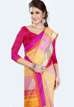 Pink-Yellow Color Georgette-Chiffon-Dupion Designer Saree