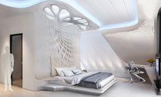 light interior that inspired by Zaha Hadid works Futuristic Bedroom, Futuristic Interior, Futuristic Furniture, Modern Furniture, Bedroom False Ceiling Design, Bedroom Bed Design, Modern Bedroom, Zaha Hadid Interior, Interior Architecture