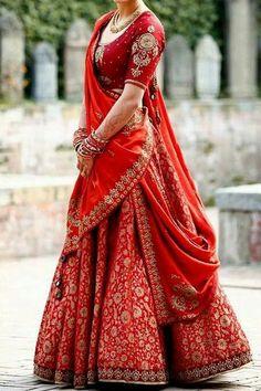 Indian Bridal Lehenga Red Ideas For 2019 Indian Bridal Outfits, Indian Bridal Wear, Indian Designer Outfits, Indian Dresses, Bridal Dresses, Dress Wedding, Designer Bridal Lehenga, Indian Bridal Lehenga, Bridal Lehenga Choli