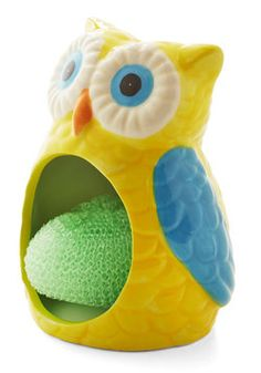 Scrubbing Buddy Sponge Holder. Dishwashing duty just got a whole lot cuter with this adorable owl sponge holder by Streamline beside the kitchen sink. #yellow #modcloth
