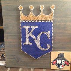 Kansas City Royals World Series string art. Hand painted World Series logo. KansasCity Royals Crowned StringArt