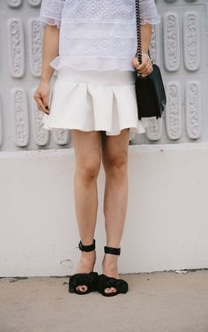 HallieDaily: Rebecca Taylor Lace Top-Tibi Bow Sandals-ASOS HallieDaily: Rebecca Taylor Lace Top-Tibi Bow Sandals-ASOS Peplum Skirt-Chanel Bag