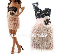 Cariño Escote de Un Hombro Mini Por Encargo Del Partido Vestido de Fiesta Diseño CD91891 Feather Dress Short falda de plumas de avestruz