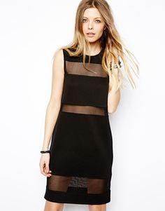 Image 1 ofASOS Mesh insert textured shift dress-> for going out