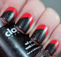 Chevron Tape Manicure using Essie - Olé Caliente & Claire's - Galaxy | My Polish Stash
