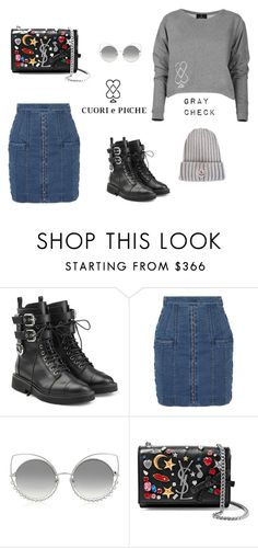 """""""GRAY CHECK SET II"""" by cuoriepicche-private on Polyvore featuring moda, Giuseppe Zanotti, Balmain, Marc Jacobs, Yves Saint Laurent, Moncler, luxury, lauren, moncler i cuoriepicche"""