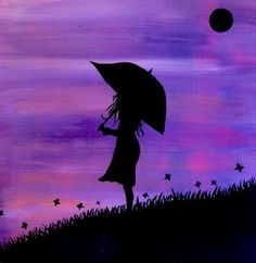 Original Day Dreaming silhouette painting of a by RNTaylorStudios