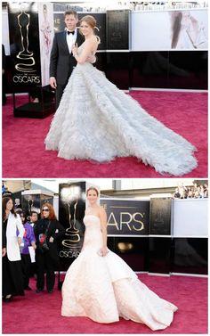 MS. FABULOUS: Amy Adams in Oscar de la Renta, Jennifer Lawrence in Dior