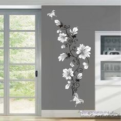 White Flowers wall decals Price 600 rupees Wall decals are a simple and excellen. Wall Painting Decor, Mural Wall Art, Wall Design, House Design, Wall Drawing, Diy Wall, Shop 24, Room Decor, Interior Design