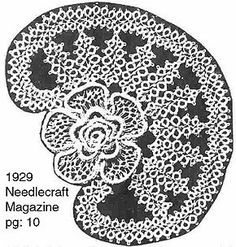 A a pattern using padded tatting from an illustration from the Needlecraft Magazine of May page - Padded Tatting Rose - Tatting at BellaOnline Needle Tatting Tutorial, Rose Tat, Teneriffe, Tatting Lace, Tatting Patterns, Bobbin Lace, Needlework, Delicate, Floral