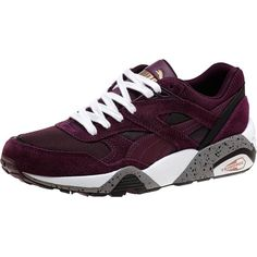 Puma R698 Fast Graphic Women's Sneakers ($60) ❤ liked on Polyvore featuring shoes, traction shoes, laced shoes, patterned shoes, lace up shoes and chunky shoes