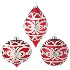 "4"" Glass Beaded Ornaments - Set of 3  Price : $28.95 http://www.perfectlyfestive.com/RAZ-Imports-Beaded-Ornaments-Set/dp/B00MN53AH0"