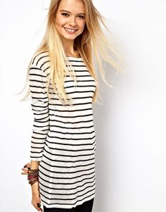 ASOS Top in Stripe with Long Sleeves