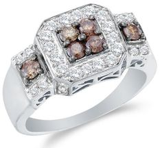 14K Yellow Gold Large White and Chocolate Brown Diamond Halo Engagement OR Fashion Right Hand Ring Band - Square...