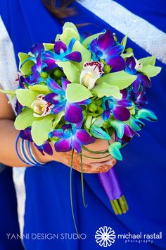 Bouquet with cymbidium orchids and blue orchids. My bouquet WILL have blue orchids in it. Dendrobium Orchids, Blue Orchids, Blue Orchid Bouquet, Purple Calla Lilies, Purple Flowers, Purple Wedding, Wedding Colors, Wedding Flowers, Peacock Wedding