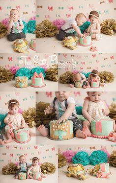 Twins cake smash session, beaus and bows cake smash, boy and girl twins, bow banner, bow tie cake, tissue poms, bow tie banner, pink gold and teal cake smash  Two Sisters Photography | Bonney Lake, WA