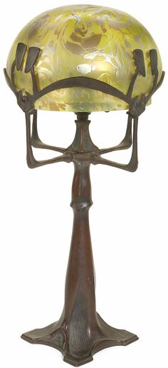 Austrian Art Nouveau bronze lamp and iridescent glass shade, circa 1900, unsigned. height 20 1/2in