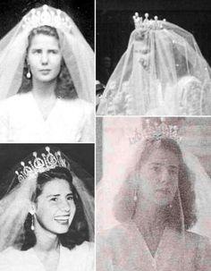 Wedding tiara of Cayetana, 18th duchess of Alba, wearing the tiara on her wedding day in 1947