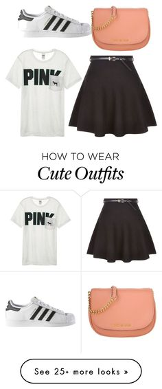 """""""My First Polyvore Outfit"""" by noelie-garcia on Polyvore featuring Michael Kors, adidas, New Look and Victoria's Secret"""