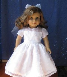 First communion dress and veil for your American Girl by catsmeow1