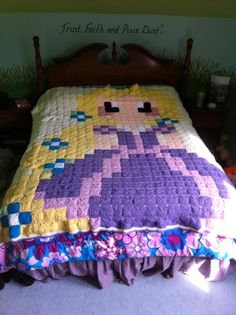696 sq ~ Rapunzel Blanket ~ NO pattern