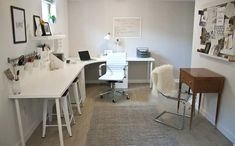 The Reveal: Home Office Design! - - It is the big reveal of our new home office design. A great space that is organized, creative and stylish! Ikea Home Office, Office Playroom, Home Office Design, Basement Office, Office Designs, Ikea Corner Desk, Ikea L Desk, Corner Office, Corner Table