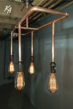 New kitchen lighting copper house ideas Conduit Lighting, Pipe Lighting, Copper Lighting, Lighting Ideas, House Lighting, Vanity Lighting, Copper Light Fixture, Copper Lamps, Copper Ceiling
