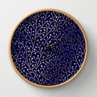 Wall Clocks featuring Gold Berry Branches on Navy by Cat Coquillette