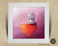 Cadre carré 25x25 cadeau Naissance avec Illustration Hippopotame et coeur pour Chambre Enfant bébé