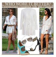 """""""Who Wore It Better? Jennifer Lopez or Selena Gomez?"""" by nfabjoy ❤ liked on Polyvore featuring Zimmermann, Brian Atwood, Tom Ford, WhoWoreItBetter, selenagomez, CelebrityStyle, jenniferlopez and LaceJumpsuit"""