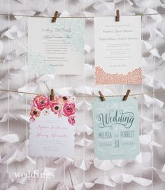 Weddings in Arkansas Magazine | Fall 2015 | Pink Blue Lace Floral Wedding Inspiration | Wedding Invitation