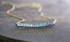 Moss Aquamarine & Tanzanite Beaded Necklace, Blue Green Purple Gemstone Necklace, Delicate Layering Necklace, Sterling Silver or Gold Filled by EleriaJewelry on Etsy https://www.etsy.com/ch-en/listing/262294327/moss-aquamarine-tanzanite-beaded