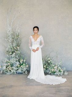 """Claire Pettibone Spring 2019 Bridal Collection: """"The White Album"""" ⋆ Ruffled Claire Pettibone's First Color-Free Bridal Collection Colored Wedding Dresses, Bridal Dresses, Wedding Attire, Wedding Gowns, Wedding Blog, Wedding Ideas, Floral Wedding, Wedding Colors, Lace Wedding"""