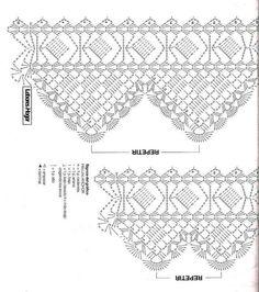 New Crochet Knit Handicraft Ideas Filet Crochet, Crochet Lace Edging, Crochet Borders, Crochet Diagram, Crochet Round, Thread Crochet, Crochet Chart, Knit Crochet, Crochet Stitches