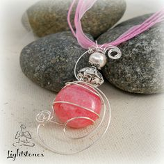 Rhodocrosite Gemstone Wire wrapped sculpted pendant , Love and Peace ,Reiki Jewelry,Chakras,Meditation ,Crystal Healing,New Age,Lightstones. $21.99, via Etsy.