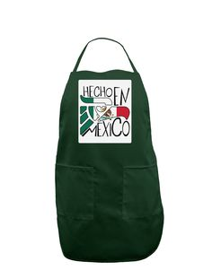 Hecho en Mexico Design - Mexican Flag Panel Dark Adult Apron by TooLoud