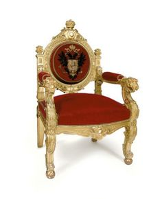 Throne of Emperor Nicholas II, Russia (late 19th-early 20th c.; gilded wood, velvet).