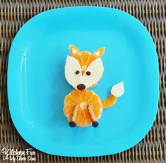 Fox Fruit Snack...a super easy & healthy after school Fall snack for the kids from KitchenFunWithMy3Sons.com