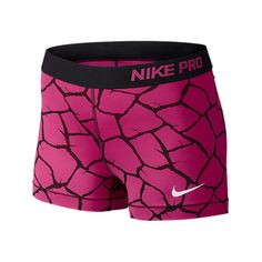 Nike Women's 3 Inch Pro Core Giraffe Print Compression Shorts, Pink ($15) ❤ liked on Polyvore featuring activewear, activewear shorts, pink, nike activewear, nike, pink sportswear and nike sportswear