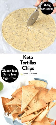 Low Carb Tortilla Chips are easy 3 ingredients crispy nacho chips. Bonus, those are 100 % gluten free + vegan + keto tortila chips with barely no carb! Atkins Recipes, Ketogenic Recipes, Low Carb Recipes, Health Recipes, Bread Recipes, Low Carb High Fat, Low Carb Keto, Gluten Free Tortilla Chips, Gluten Free Chips