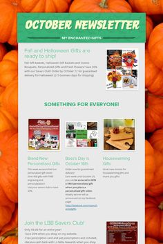October Newsletter for My Enchanted Gifts www.myenchantedgifts.labellabaskets.com