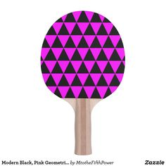 Modern Black, Pink Geometric Triangles Ping-Pong Paddle by M to the Fifth Power Ping Pong Table Tennis, Ping Pong Paddles, Triangles, Modern, Pink, Black, Design, Trendy Tree, Black People