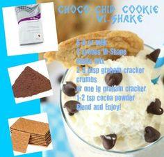 Chocolate Chip Cookie Shake (soy milk, cocoa powder, vanilla protein powder, graham cracker, ice and/or frozen banana)