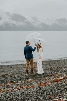 A rainy Alaska Miller's Landing wedding for Tessa + Dillon of The Bus & Us - 100 Layer Cake Rain Wedding, Alaska Wedding, 100 Layer Cake, Wedding Portraits, Landing, Wedding Planner, River, Couple Photos, Wander