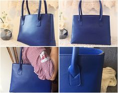 Blue leather satchel tote by PomponiBags on etsy.com