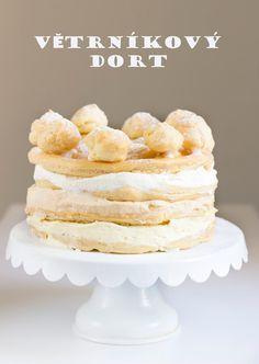 Korpus 20 cm:  120 g ztuženého tuku (Omega)  320 ml vody  špetka soli  180 g hladké mouky  5 vajec    Bílá šlehačka:  250 ml smetany ke... Cupcake Cakes, Cupcakes, Kefir, Vanilla Cake, Cereal, Food And Drink, Baking, Breakfast, Sweet