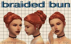 "linkysims: "" ✨braided bun ✨ aka the ""i dont know what to name stuff"" hair ✨ my first bona fide frankenmesh? im sure everyone and their grandma has done this combo already but whatever, this was more for my practice tbh. also its cute! Sims 4 Cc Packs, Sims 4 Mm Cc, Sims 4 Game Mods, Sims Mods, Suits And Tattoos, Maxis, Play Sims, Sims Hair, The Sims 4 Download"