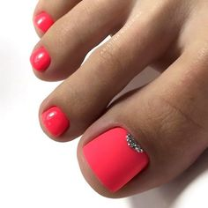 farbe Matte Pink Nails with Glitter Accent ★ Explore trend. Matte Pink Nails with Glitter Accent ★ Explore trendy and classy, cute and elegant toe nails designs for summer and beach vacation. You will love our easy ideas. Gel Toe Nails, Matte Pink Nails, Feet Nails, Gel Toes, Bright Pink Nails With Glitter, Bright Toe Nails, Glitter Toe Nails, Cute Nail Colors, Toe Nail Color